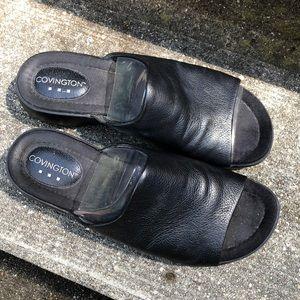 Covington black leather sandals